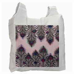 Peacock Feather Pattern Pink Love Heart Recycle Bag (one Side)
