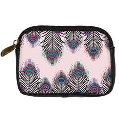 Peacock Feather Pattern Pink Love Heart Digital Camera Cases
