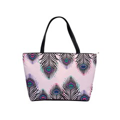 Peacock Feather Pattern Pink Love Heart Shoulder Handbags