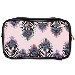 Peacock Feather Pattern Pink Love Heart Toiletries Bags 2 Side