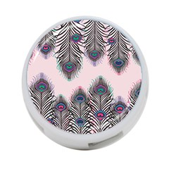 Peacock Feather Pattern Pink Love Heart 4 Port Usb Hub (one Side)