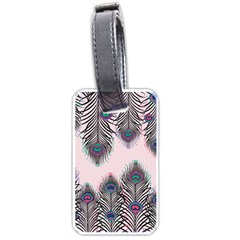 Peacock Feather Pattern Pink Love Heart Luggage Tags (two Sides)