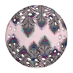 Peacock Feather Pattern Pink Love Heart Round Filigree Ornament (two Sides)