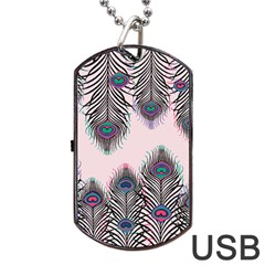 Peacock Feather Pattern Pink Love Heart Dog Tag Usb Flash (one Side)