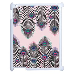 Peacock Feather Pattern Pink Love Heart Apple Ipad 2 Case (white)