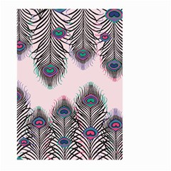 Peacock Feather Pattern Pink Love Heart Large Garden Flag (two Sides)