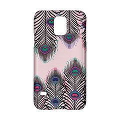 Peacock Feather Pattern Pink Love Heart Samsung Galaxy S5 Hardshell Case