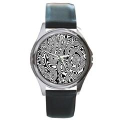 Psychedelic Zebra Black White Round Metal Watch