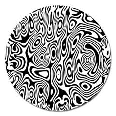 Psychedelic Zebra Black White Magnet 5  (round)