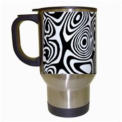 Psychedelic Zebra Black White Travel Mugs (white)