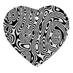 Psychedelic Zebra Black White Heart Ornament (two Sides)
