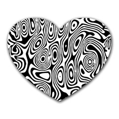 Psychedelic Zebra Black White Heart Mousepads