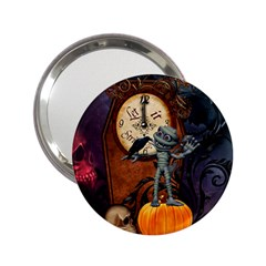 Funny Mummy With Skulls, Crow And Pumpkin 2 25  Handbag Mirrors