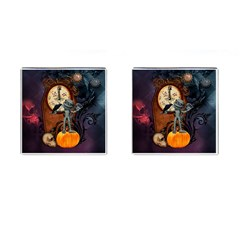 Funny Mummy With Skulls, Crow And Pumpkin Cufflinks (square)