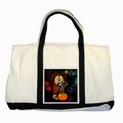 Funny Mummy With Skulls, Crow And Pumpkin Two Tone Tote Bag