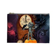 Funny Mummy With Skulls, Crow And Pumpkin Cosmetic Bag (large)