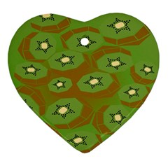 Relativity Pattern Moon Star Polka Dots Green Space Ornament (heart)