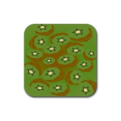 Relativity Pattern Moon Star Polka Dots Green Space Rubber Square Coaster (4 Pack)