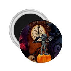 Funny Mummy With Skulls, Crow And Pumpkin 2 25  Magnets