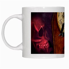 Funny Mummy With Skulls, Crow And Pumpkin White Mugs