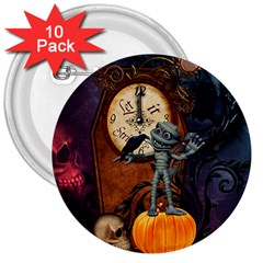 Funny Mummy With Skulls, Crow And Pumpkin 3  Buttons (10 Pack)