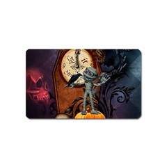 Funny Mummy With Skulls, Crow And Pumpkin Magnet (name Card)