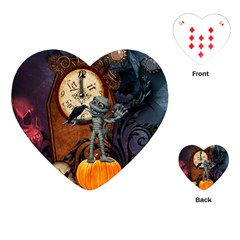 Funny Mummy With Skulls, Crow And Pumpkin Playing Cards (heart)