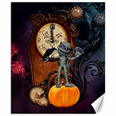 Funny Mummy With Skulls, Crow And Pumpkin Canvas 8  X 10