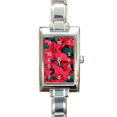 Red Poinsettia Flower Rectangle Italian Charm Watch