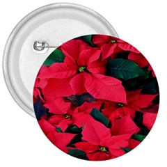 Red Poinsettia Flower 3  Buttons