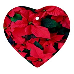Red Poinsettia Flower Ornament (heart)