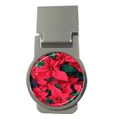 Red Poinsettia Flower Money Clips (round)