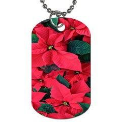 Red Poinsettia Flower Dog Tag (one Side)