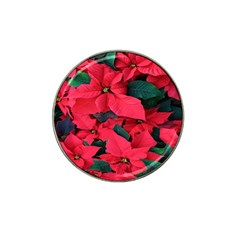 Red Poinsettia Flower Hat Clip Ball Marker (4 Pack)