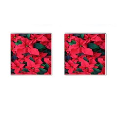 Red Poinsettia Flower Cufflinks (square)