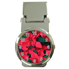 Red Poinsettia Flower Money Clip Watches