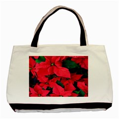Red Poinsettia Flower Basic Tote Bag (two Sides)