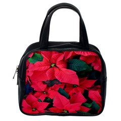 Red Poinsettia Flower Classic Handbags (one Side)