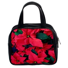 Red Poinsettia Flower Classic Handbags (2 Sides)