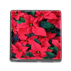 Red Poinsettia Flower Memory Card Reader (square)