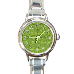 Digital Nature Collage Pattern Round Italian Charm Watch