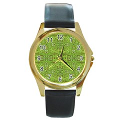 Digital Nature Collage Pattern Round Gold Metal Watch