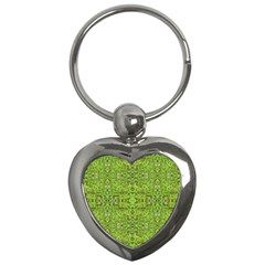 Digital Nature Collage Pattern Key Chains (heart)