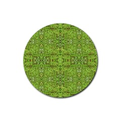 Digital Nature Collage Pattern Rubber Coaster (round)