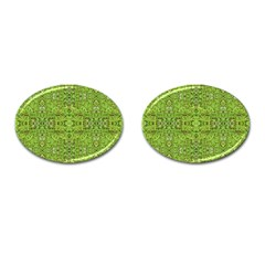 Digital Nature Collage Pattern Cufflinks (oval)