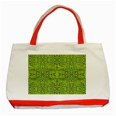 Digital Nature Collage Pattern Classic Tote Bag (red)