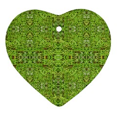 Digital Nature Collage Pattern Heart Ornament (two Sides)
