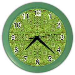 Digital Nature Collage Pattern Color Wall Clocks