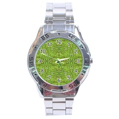 Digital Nature Collage Pattern Stainless Steel Analogue Watch