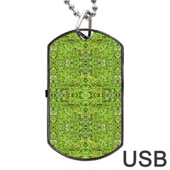 Digital Nature Collage Pattern Dog Tag Usb Flash (one Side)